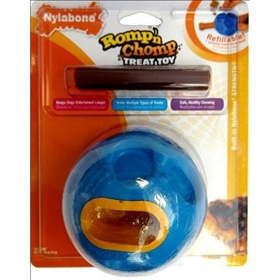 Nylabone Romp 'n Chomp Regular Chicken Flavored Rubber Ball Dog Treat and Chew Toy