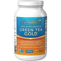 Nutrigold #1 Green Tea Extract - Green Tea GOLD, 500 mg, 180 Vegetarian Capsules - Decaffeinated Green Tea Fat Burner Supplement for Weight-loss (98% Polyphenols, 50% EGCG)