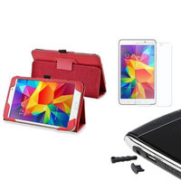 Insten INSTEN Red Leather Stand Case+AG Protector/Dust Cap For Samsung Galaxy Tab 4 7.0 7