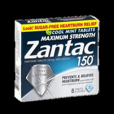 Zantac 150 Maximum Strength Heartburn Relief Cool Mint Tablets - 8 CT