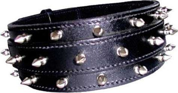Pet Jewelry Beverly Hills 102 24 X2.5 Spike Leather Dog Collar- 3 Rows Of Spikes- Black Leather