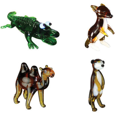BrainStorm Looking Glass Miniature Glass Figurines, 4-Pack, Alligator/Kangaroo/Camel/Meerkat