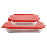 Anchor Hocking Glass Embrace Bake Set with Lid - Clear/Red