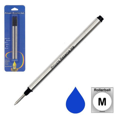 Pk/2 Private Reserve Montblanc Compatible Rollerball Refills, Blue Medium