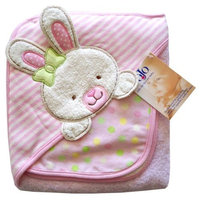 Nojo Character Bath Collection 3D Character Applique Hooded Towel and Washcloth Set, Bunny