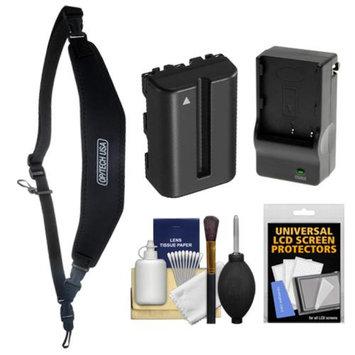 OP/Tech Op/Tech USA Neoprene Utility Digital SLR Camera Strap-Sling (Black) with Battery & Charger for Sony Alpha DSLR SLT-A57, A58, A65, A77, A99