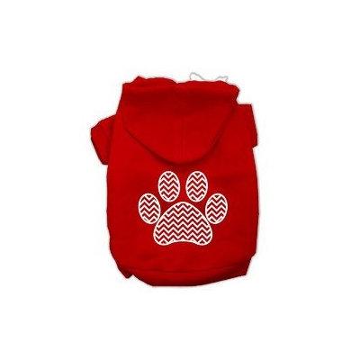 Mirage Pet Products Chevron Paw Screen Print Pet Hoodies Red Size XXXL (20)
