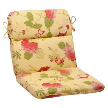 Pillow Perfect Outdoor Rounded Chair Cushion - Yellow/Red Floral