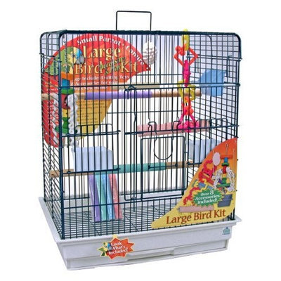 Blue Ribbon 24-Inch by 18-Inch by 28-Inch Complete Bird Cage Kit for Large Birds, Blue/Granite