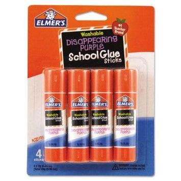 Borden Elmer's Washable School Glue Sticks, Disappearing Purple, 4/Pack