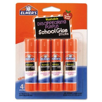 Borden Elmer's Washable School Glue Sticks, Disappearing Purple, 4/Pack