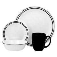Corelle Brilliant Black Beads 16 Piece Dinnerware Set - Black/White