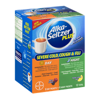 Alka-Seltzer Plus Severe Cold, Cough & Flu Day-Berry Fusion/Night-Honey Lemon Zest - 12 CT