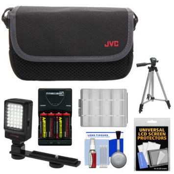 JVC CBV2013 Everio Video Camera Camcorder Case with LED Video Light & Batteries & Charger + Tripod + Accessory Kit for GZ-E100, E300, E505, EX310, EX355, EX515, EX550, R10, R30, R70