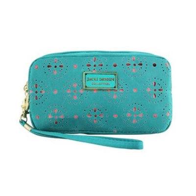 Jacki Design ABC38016EM Cosmopolitan Cosmetic Bag With Wristlet Emerald