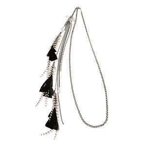 Jane Tran Hair Accessories Crystal And Feather Chain Headband