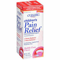 Equate Children's Pain Relief Oral Suspension Liquid Bubble Gum Flavor Fever Reducer/Pain Reliever 4 Oz