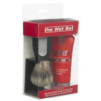 Kent Wet Is Best Shaving Brush Set Model No. WET SET - Set Includes: Brush + Brush Holder + 2.6 oz Skin Conditioning Shaving Cream