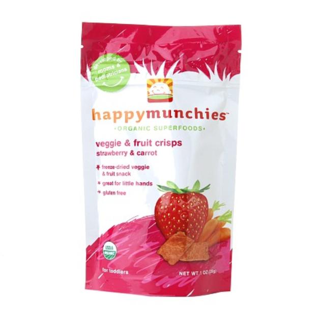 Happy Munchies Organic Veggie and Fruit Crisps Strawberry & Carrot