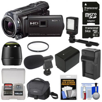 Sony Handycam HDR-PJ810 32GB 1080p HD Video Camera Camcorder with Projector with 64GB Card + Speaker + Battery & Charger + Case + Microphone + LED Light + Kit
