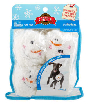 Grreat ChoiceA Pet HolidayTM 6-Pack Snowman Face Ball Dog Toys
