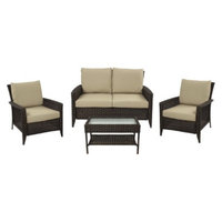 Grand Basket Adriana Wicker 4-Piece Patio Conversation Set