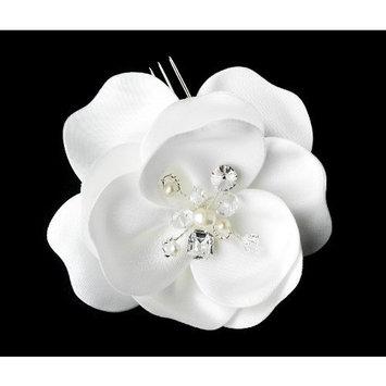 Outlet White Silky Matt Satin Flower Bridal Hair Comb