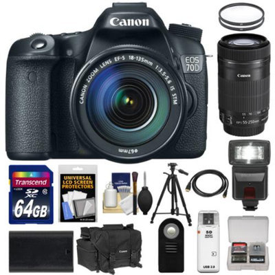 Canon EOS 70D Digital SLR Camera & 18-135mm IS & 55-250mm IS STM Lens with 64GB Card + Battery + Case + Tripod + Flash + Accessory Kit