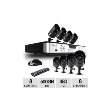 Zmodo 8CH 8CAM D1 DVR Security System - 500GB, H.264, 480TVL, Weatherproof Cameras, Motion Detection - PKD-DK0855-500GB