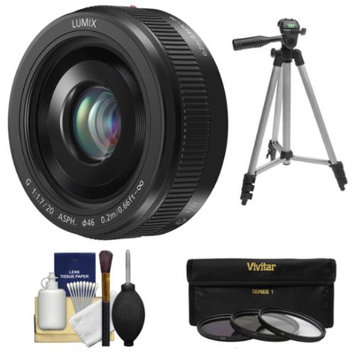Panasonic Lumix G Vario 20mm f/1.7 II ASPH Lens (Black) with 3 UV/ND8/CPL Filters + Tripod + Kit for G5, G6, GF5, GF6, GH3, GH4, GM1, GX7 Cameras