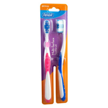 Rexall Multi Surface Toothbrush Assorted Colors Medium, 2 pack