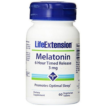 Life Extension Melatonin 6 Hour Time Released 3mg Vegetarian Tablets, 60-Count