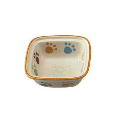 Ethical Pet Paw Print Square Dish Cat 5-Inch Pet Dish