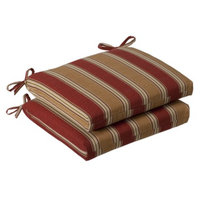 Pillow Perfect Outdoor 2-Piece Chair Cushion - Tan/Red Stripe