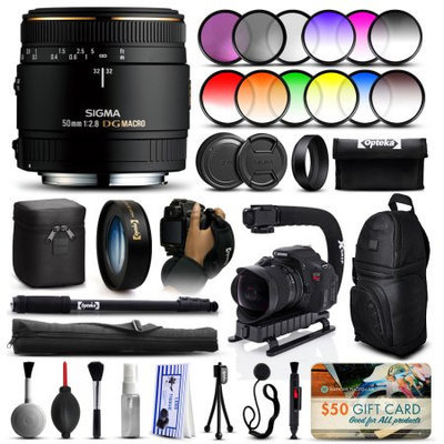 47th Street Photo Sigma 50mm F2.8 EX DG Macro Lens for Nikon (346306) + 12 Piece Filter Set + 10x Macro Diopter + Stabilizer Handle + Sling Backpack + 67 Monopod + Deluxe Cleaning Kit + Air Dust Blower + $50 Prints Gift Card + More