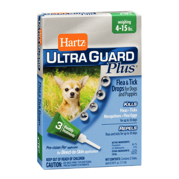 Hartz Ultra Guard Plus Flea & Tick Drops for Dogs and Puppies 4-15lbs - 3 CT