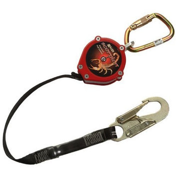 Miller PFL-2/9FT Scorpion 9-Foot Personal Fall Limiter with Steel Twist-Lock Carabiner, Red