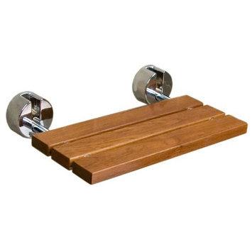 Clevr 20 Teak Modern Folding Shower Seat Bench Finished Dark Wood Chrome Spa Bath NEW
