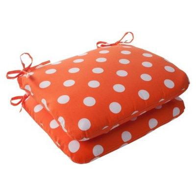 Pillow Perfect Outdoor 2-Piece Square Seat Cushion Set - Orange/White Polka Dot