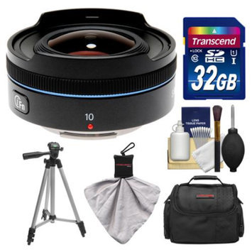 Samsung 10mm f/3.5 NX Fisheye Lens (Black) with 32GB Card + Case + Tripod Kit for Galaxy NX, NX30, NX210, NX300, NX2000, NX3000 Cameras