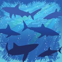 Shark Splash Beverage Napkins 16 Pack