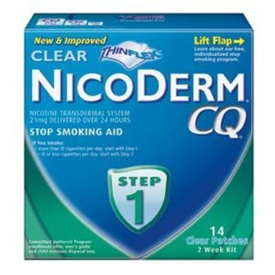 NicoDerm CQ Clear Nicotine Patch 21 milligram (Step 1) Stop Smoking Aid 14 count