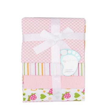 Baby Mode Pink Turtles & Stripes Receiving Blankets - Set of Four