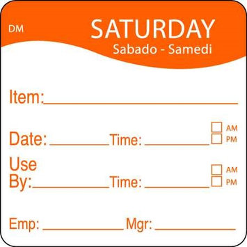 DAYMARK 1100536 Day Label, Saturday,4-1/2 In. W,PK250