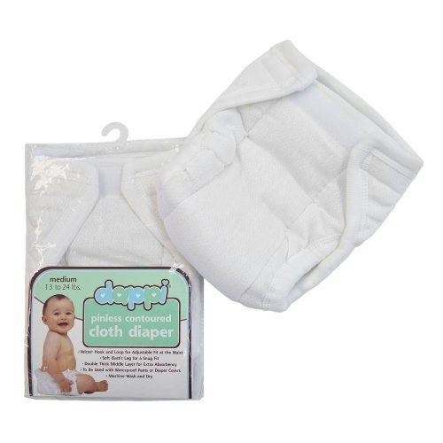 Dappi Pinless Contoured Cloth Diaper, White, Small (Discontinued by Manufacturer)