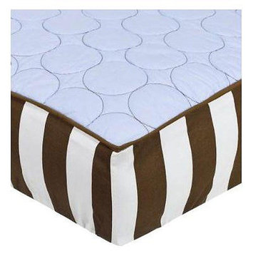 Bacati Quilted Changing Pad Cover - Blue/Chocolate