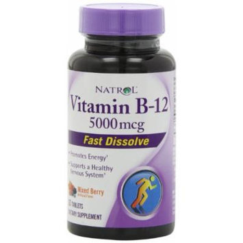 Natrol Vitamin B-12 Fast Dissolve Tablets, Mixed Berry, 5000 Mcg, 30 Count