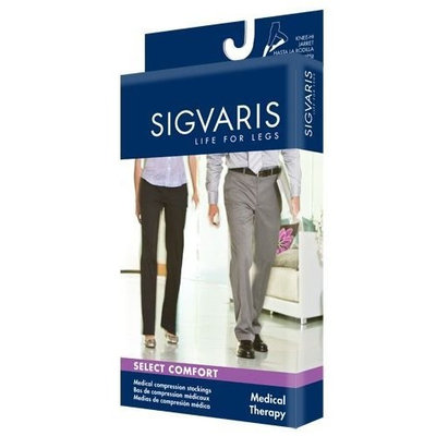 Sigvaris 860 Select Comfort 30-40 mmHg Open Toe Knee High Sock with Silicone Top Band Size: S2