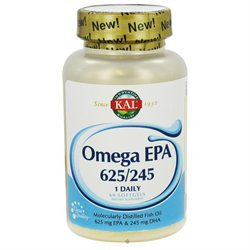 Kal - Omega EPA 625/245 Moleculary Distilled Fish Oil 1 Daily - 60 Softgels