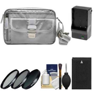 Nikon 1 Series Deluxe Digital Camera Case (Gray) with EN-EL20 Battery & Charger + 3 UV/CPL/ND8 Filters + Cleaning Kit for J1, J2, J3, S1, AW1